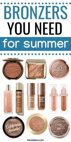 Get bronze and glowy this summer! Summer is always the time to get a beautiful sun-kissed glow and these are the best bronzers to achieve a bronzed sun-kissed summer look! Check out these luxury, drugstore, and liquid bronzers to perfect your summer glow. Makeup Must Haves, Makeup To Buy, Makeup Kit, Beauty Makeup, Candy Makeup, Beauty Dupes, Elf Makeup, Makeup Stuff, Free Makeup