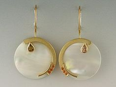 Janis Kerman, Earrings, 2009, 18k, mother of pearl, diamond, sapphire