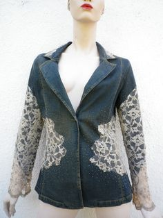 Lace & Denim Jacket Italian Vintage Frills Jeans by MariaBaba