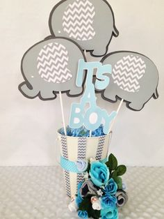 Elephant Baby Shower Centerpiece, Elephant Theme Baby Shower Party Decorations by AllDiaperCakes on Etsy