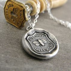 Bee wax seal necklace - We May Be Happy Yet - antique Victorian wax seal jewelry