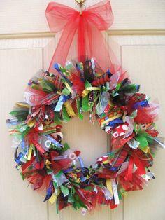 Christmas Wreath, Whimsical Christmas Fabric Wreath, Holiday Front Door Decor