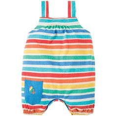 These Frugi Beau Beach Dungaree rompers are ideal for those little adventures at the seaside!  Made from 100% Organic Cotton Jersey with a fuzzy peached finish and a fun Hermit Crab patch pocket on the front Elasticated straps and back for a fab fit Soft gathers on the front Elasticated leg cuffs Poppers underneath for easy changing Please Note: Peached finish may result in a softer stripe