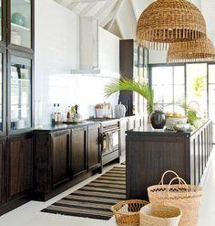 Modern beach kitchen with woven lights | Cavanaugh Design Group | www.cdgdesign.com {via House Beautiful}
