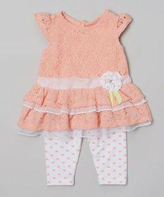 Loving this Peach Lace Ruffle Tunic  White Polka Dot Leggings