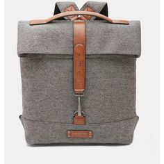 Ted Baker Canvas roll down backpack ($216) ❤ liked on Polyvore featuring men's fashion, men's bags, men's backpacks, grey and ted baker