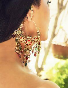 Beautiful Neety Singh Gold, Green & Red Dangling #Earrings. #IndianJewellery