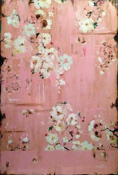 A Whisper of Pink | Artist Kathe Fraga.  French Wallpaper Series evoke the hand-painted, timeworn walls of a grand old Parisian mansion.