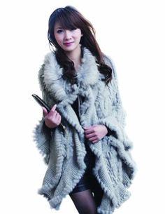 Amazon.com: Berry Queen Women's Rabbit Fur Raccoon Knit Women's Hood Shawl Coat Stole Cape (Gray): Clothing