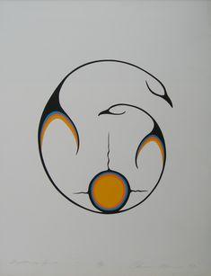Clemence Wescoupe - Together in Spirit, 1983 Inuit Kunst, Inuit Art, American Indian Art, Native American Art, Pintura Tribal, Hahn Tattoo, Kunst Der Aborigines, Canadian Art, Indigenous Art