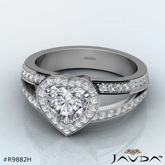 Heart Diamond Engagement Ring Certified By GIA, G Color & VVS1 Clarity, 14k White Gold (1.35 Ct. Total Weight.).