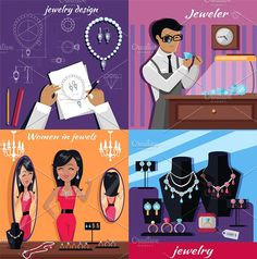 Jewelry Banner Concept Design Flat Graphics Jewelry banner concept design. Diamond and jeweller on model, necklace and jewels, jewelry model, ri by robuart
