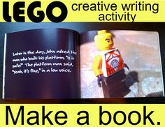 Help encourage your boys to write their own stories by writing a lego book.