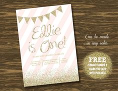 Pink and Gold Birthday Invitation - Printable - FREE pennant banner and thank you card with purchase by SweetGumdrop on Etsy https://www.etsy.com/listing/217917355/pink-and-gold-birthday-invitation