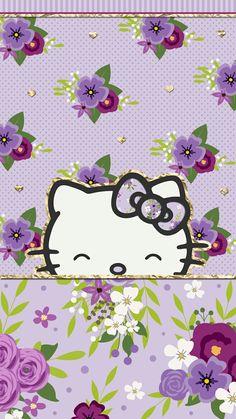#purple_dreams #wallpaper #iphone #cutewalls #hello_kitty #floral