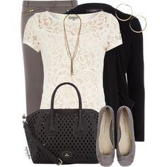 gray skinny, lace top, black cardigan, gray flats, black handbag // Dorothy Perkins