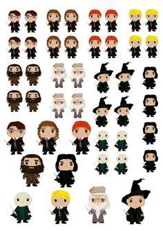 Planche de stickers des persos principaux d'Harry Potter. Harry Potter, Hermione, Dumbledore... Une version de stickers Pop, idéal pour vos agendas pour la rentrée des classes mais aussi planner et autre organiseurs !