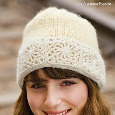 Make up this snow queen hat for winter lover in your life, or skip the hat and crochet the motifs as a lovely headband. Free pattern.