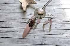 Kette Bohemian-Style silber/rosa von RainbowFairground auf Etsy
