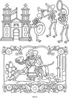 Dia de Los Muertos line art - totally awesome for a unique wedding card