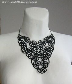 Big black lace statement necklace Victorian lace V by LandOfLaces