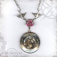Pink Rose Steampunk Locket by Za Dee Da - Time Traveller Collection - Time to Smell the Roses First Blush