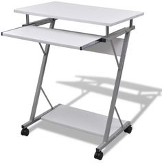 Computer Desk Student PC Table Pull Out Tray Shelf Wheels Home Office Furniture for sale Computer Cart, Office Computer Desk, Pc Desk, Office Table, Small Computer, Office Desks, Student Office, Student Desks, Laptop
