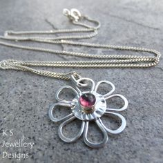 Pink Tourmaline Sterling Silver Flower Pendant - PINK DAISY - Handmade Metalwork Wirework Jewelry on Etsy, $55.00