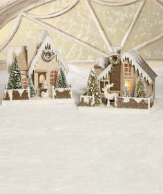 Large Cottage In The Woods | Christmas Glitter Putz Paper Houses