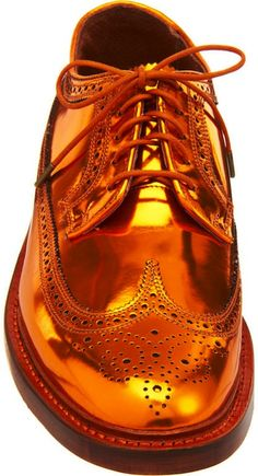 "Metallic gold copper Florsheim by Duckie Brown ""The Brogue"" wingtips ($460). This metallic leather five-eye brogues features a calf leather upper on a 3-ply Goodyear welt sole."
