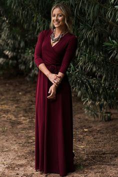 Jonna Burgundy Classic Wrap Maxi Dress