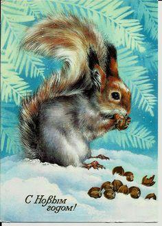 Squirrel Happy New Year Vintage Russian Postcard by LucyMarket, $6.50