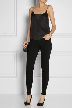 By Malene Birger stretch-silk and georgette camisole