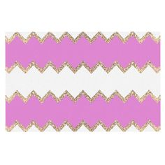 "Monika Strigel ""Avalon Pink Chevron"" Rose White Decorative Door Mat"