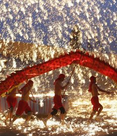 A dragon dance employing pyrotechnics for Chinese New Year celebrations in Beijing, China.