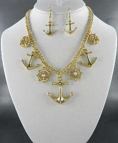 Anchor Shipwheel Charm Necklace & Earring Set-Goldtone - Savvyconch
