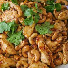 Crock Pot Cashew Chicken Recipe Main Dishes with chicken, all-purpose flour, black pepper, canola oil, soy sauce, rice vinegar, ketchup, brown sugar, garlic cloves, ginger, red pepper flakes, cashew nuts
