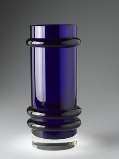 Vase of clear deep purplish-blue and colourless glass with rings in high relief: Scottish, Wick, designed by Donald OBroin, by Caithness Glass Ltd, 1965 Caithness Glass, Vase, Deep, Rings, Design, Ring, Jewelry Rings, Vases