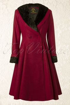 Bunny - 50s Vivien Swing Coat in Burgundy