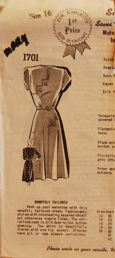 "Vintage 1940s Misses' Mail Order Dress Pattern 1701 Size 16 (34"" Bust)"