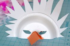 Today's tutorial was inspired by Angelina Ballerina , one of the few cartoons N. actually watches once in a blue moon. Preschool Themes, Preschool Art, Eagle Mask, Ballet Crafts, Duck Mask, Recycled Costumes, Styrofoam Plates, White Construction Paper, Dance Camp