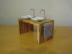 Miniature Modern Zebra Wood Double Vanity. $45.00, via Etsy.