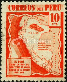 Peru map on a vintage postage stamp Royalty Free Stock Photo