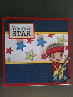 Great boys birthday card idea. Digital Stamps used: Jordan Rock Star, You're a Star Sentiment and Star printable paper. www.kithandkinstampco.com
