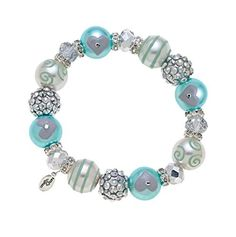 Clementine Design Kate & Macy Blue Dazzle Bracelet Painted Glass Beads Rhinestones by Kate & Macy -- Awesome products selected by Anna Churchill