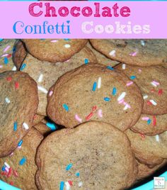 A yummy fun twist on plain chocolate chip cookies --- use ground up Hershey Kisses and confetti sprinkles, see the recipe @ http://mamato5blessings.com/2014/07/chocolate-confetti-cookies/