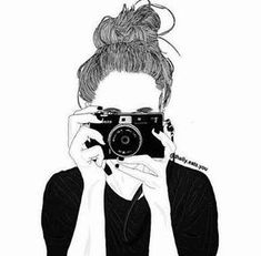 Resultado de imagem para cute drawing of a girl with camera