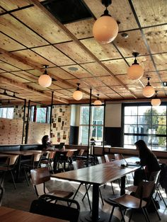 If I need to have a dropped ceiling, I love this idea- plywood tiles Basement Renovations, Commercial Design, Bar Ceilings, Plywood Ceiling, Drop Ceiling Tiles, Ceiling Design, Office Ceiling, Dropped Ceiling, Restaurant Design