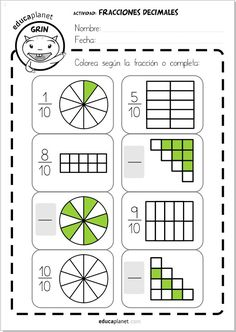 Fracciones decimales ejercicios Primaria Math Resources, Math Activities, 2nd Grade Math Worksheets, Math Charts, Montessori Math, Learning Numbers, Math Fractions, Math Notebooks, Math For Kids