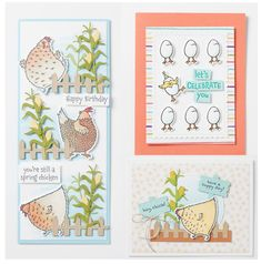 Hey Chick is back with a new friend, Hey Birthday Chick! Cool Cards, Diy Cards, Spring Chicken, Have A Happy Day, About Easter, Send A Card, Spring Projects, Stamping Up Cards, Lets Celebrate